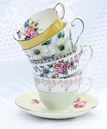 Vintage hire cups and saucers